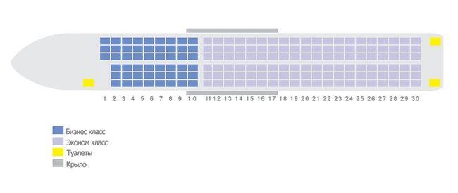 Схема салона самолета Boeing 737-800