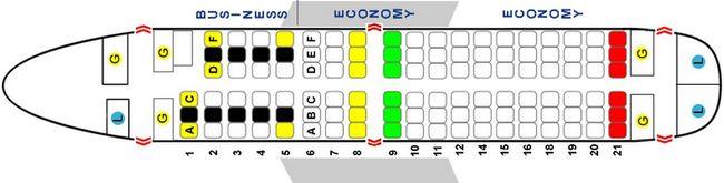 Схема салона самолета Airbus A319-100